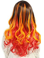 24 inch Women Long Deep Wave Curly Synthetic Hair Wig Ombre Orange with Free Hair Net