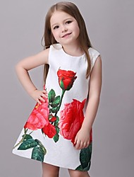 Girl's Multi-color / White Dress,Print Rayon Summer / Spring / Fall