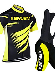 KEIYUEM Cycling Jersey with Bib Shorts Unisex Short Sleeve Bike Clothing SuitsQuick Dry Dust Proof Wearable Breathable Compression Back