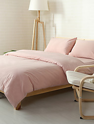 Pink Washed Cotton Bedding Sets Queen King Size Bedlinens 4pcs Duvet Cover Set