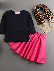 Girl's Black Clothing Three Pieces Set,Animal Print Polyester Summer / Spring / Fall