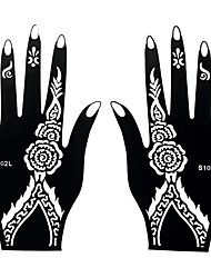 2pcs Henna Indian Airbrush Printing Stencil Black Tattoo Temporary Body Hand Art Sticker S102