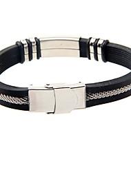 Homens Bracelete Aço Titânio imitação de diamante Moda Estilo Punk Bicone Shape Preto Jóias 1peça