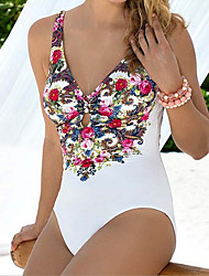 Women's Bandeau One-piece,Floral Polyester White