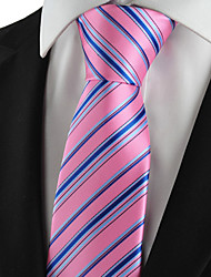 KissTies Men's Tie Necktie Pink Blue Striped Wedding/Business/Party/Work/Casual With Gift Box