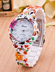 Women's Fashion Watch Quartz Plastic Band Flower Multi-Colored