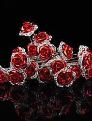 10 pcs  Women's Red Rose Flower Headpiece-Wedding U Shape Hair Pin / Hair Stick Jewelry