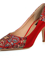 Women's Chinese Vintage Style Flower Pointed Toe Stiletto Heel Shoe Red