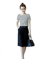 Damen Solide T-shirt - Baumwolle Kurzarm Quadratischer Ausschnitt