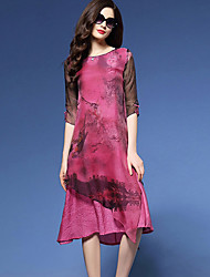 Women's Vintage Print Plus Size / Loose Dress,Round Neck Knee-length Silk