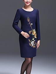 Gaine Robe Aux femmes Soirée / Cocktail / Grandes Tailles Vintage,Imprimé Col Arrondi Au dessus du genou Manches Longues Bleu Polyester