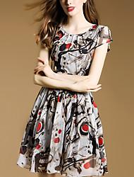 Women's Vintage Print A Line Dress,Round Neck Above Knee Polyester