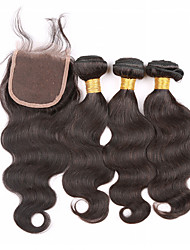 Grade 7A Unprocessed Body Wave Bundles with Lace Closure virgin human hair Virgin Hair Bundles with Closure
