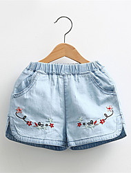 New Girls Shorts Jeans Summer Boutique Fashion Flower Printing Baby Girls Shorts Age 2-7Y Kids Clothes