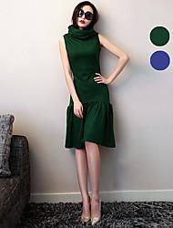 VERRAGEE® Women's Stand Sleeveless Knee-length Dress-L076