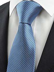KissTies Men's Necktie Dark Blue Plaid Check Business Work Casual Tie With Gift Box