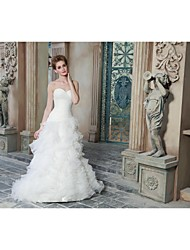 A-line Wedding Dress Sweep / Brush Train Sweetheart Organza / Satin with Criss-Cross