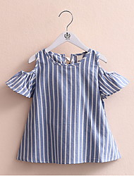 Baby Kid Girls Dew shoulder One Piece Dress Blue Striped White Bowknot Dresses Summer Style