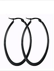 women Titanium Steel  BLACK  Hoop Earrings