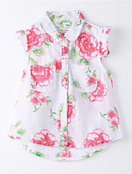 Girl's Print Shirt,Cotton Summer White