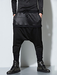 Men's Patchwork Casual / Sport Chinos,Cotton / Nylon Black