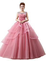 Ball Gown Scoop Neck Chapel Train Tulle Evening Dress with Crystal