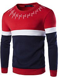 Men's Casual Slim Stitching Lightning Offset Sweatshirt,Cotton / Polyester Print / Patchwork