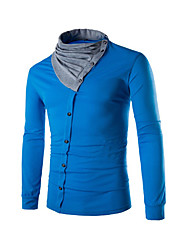 Men's Fashion Splicing Heap Collar Single-Breasted Design Slim Fit Casual Long Sleeve T-Shirt, Cotton /Polyester/Casual