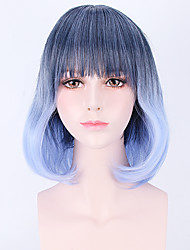 Charming Sky Blue Gradient Wave Beautiful Anime Cosplay Full Synthetic Wigs