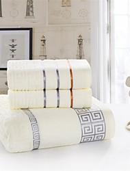 Solid Full Cotton Fabric Bath Towel Set. 2pc Wash Towel+1pc Bath Towel