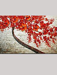 растянуты (готовы повесить) ручная роспись маслом красный пейзаж цветение вишни дерево жизни стены искусства
