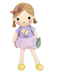 echte Frühlingsmädchen Puppe Plüschspielzeugpuppe Baby-Puppe Puppe Mädchen Geschenkbogen lila Kleid Sitzhöhe 25 cm zu beschwichtigen