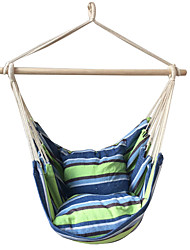 SWIFT Outdoor® Portable Cottton Green Stripe Swing Outdoor Garden Indoor Hammock Hanging Chair