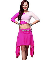 Belly Dance Outfits Women's Training Chinlon Draped 2 Pieces Black / Fuchsia / Purple