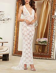 Chemises & Blouses Vêtement de nuit Femme,Sexy / Lace Jacquard-Mince Nylon / Polyester Blanc Aux femmes