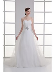 A-line Wedding Dress Court Train Strapless Organza with Beading / Draped