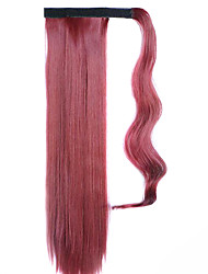 Red Wine 60CM Synthetic High Temperature Wire Wig Straight Hair Ponytail Color 118