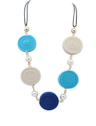 Necklace Pendant Necklaces Jewelry Party / Daily / Casual Alloy / Fabric Black / Blue / Pink 1pc Gift