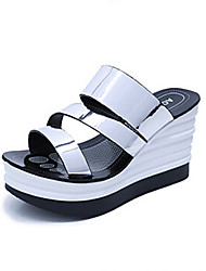 Women's Shoes PU Wedge Heel Wedges Sandals Outdoor / Dress / Casual Red / Silver / Gray