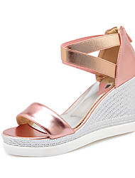 Women's Summer Wedges / Heels / Creepers / Round Toe PU Casual / Athletic Wedge Heel Zipper Pink / Red / Silver