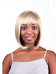 Capless Blonde Color Medium Length High Quality Natural Straight Hair Synthetic Wig with Full Bang