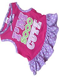 Dog Dress Rose Dog Clothes Summer Polka Dots / Hearts