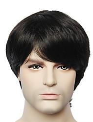 parrucca di capelli umani uomini corto nero senza cappuccio rette, da giovani