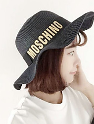 Women Letters Printed Wide-brimmed Straw Hat Dome Beach Casual Hat