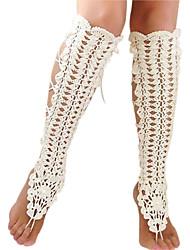 crochet à la main en coton footless sandales yoga chaîne de cheville des femmes sandales aux pieds nus