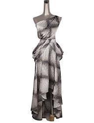 Feminino Bandagem Vestido,Casual Vintage Estampado Assimétrico Longo Sem Manga Cinza Náilon Primavera Cintura Média