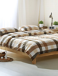 Gray and white plaid Washed Cotton Bedding Sets Queen King Size Bedlinens 4pcs Duvet Cover Set