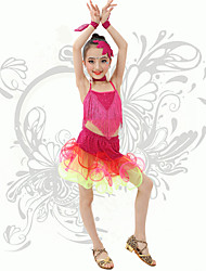 Latin Dance Children's Performance Spandex Strap Sequins / Tassel(s) Outfits Fuchsia