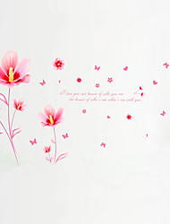 Wall Stickers Wall Decals Style Pink Flower Fragrance PVC Wall Stickers