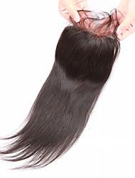 8 10 12 14 16 18 20inch Натуральный чёрный (#1В) Изготовлено вручную Прямые Человеческие волосы закрытие Умеренно-коричневыйШвейцарское